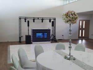 DJ Scott Dewing Wedding setup including starlit dancefloor and video DJ Booth