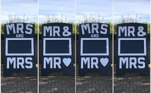 Options on Wedding TV Display supplied by DJ Scott Dewing - Mr & Mrs, Mr & Mrand Mrs & Mrs.